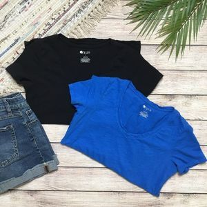 3/$20 Set of 2 Stylus Black & Blue Tees Small